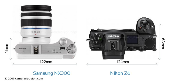 Samsung NX300 vs Nikon Z6 Camera Size Comparison - Top View