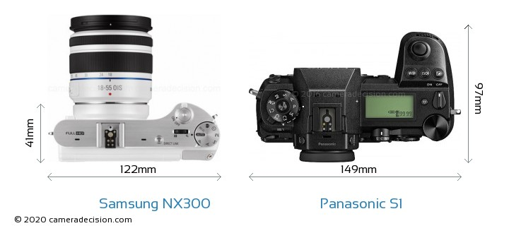 Samsung NX300 vs Panasonic S1 Camera Size Comparison - Top View
