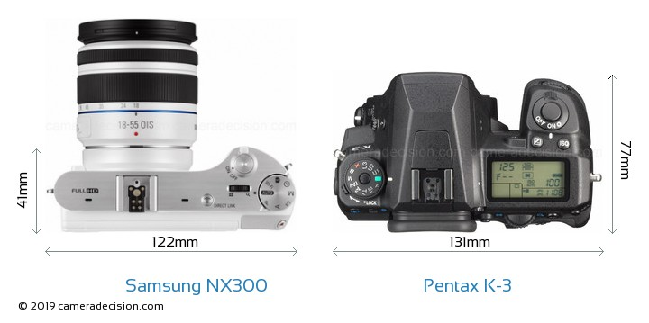 Samsung NX300 vs Pentax K-3 Camera Size Comparison - Top View