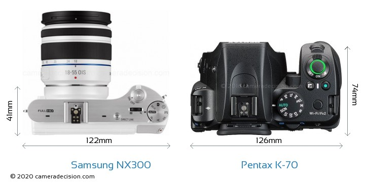 Samsung NX300 vs Pentax K-70 Camera Size Comparison - Top View