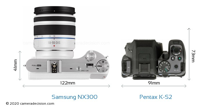 Samsung NX300 vs Pentax K-S2 Camera Size Comparison - Top View