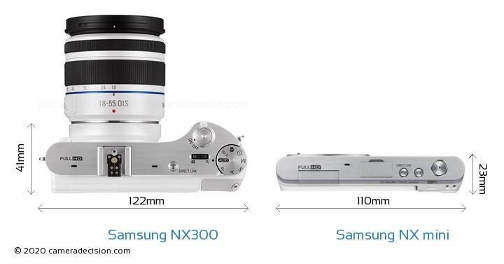 Samsung NX300 vs Samsung NX mini Camera Size Comparison - Top View