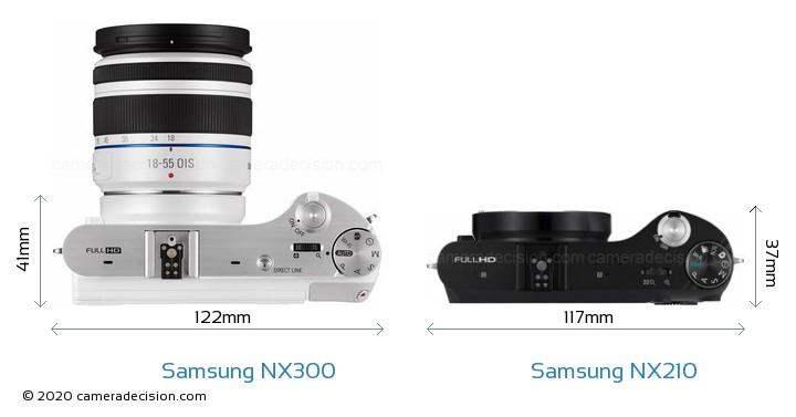 Samsung NX300 vs Samsung NX210 Camera Size Comparison - Top View