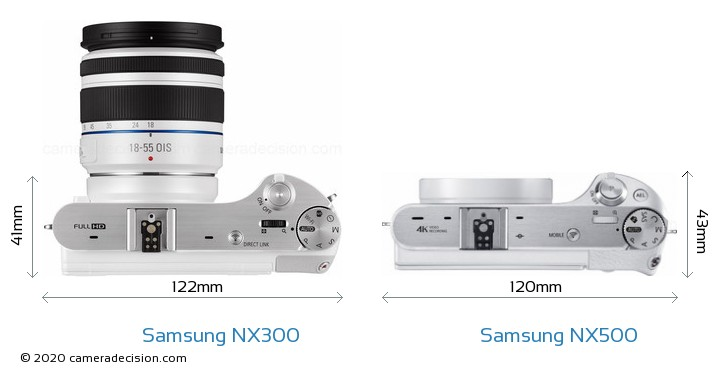 Samsung NX300 vs Samsung NX500 Camera Size Comparison - Top View