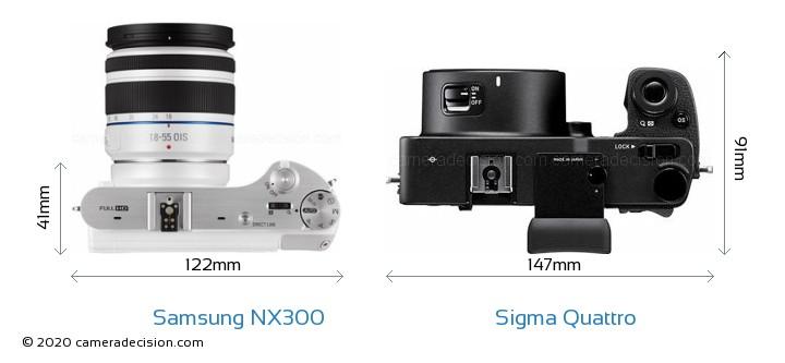 Samsung NX300 vs Sigma Quattro Camera Size Comparison - Top View