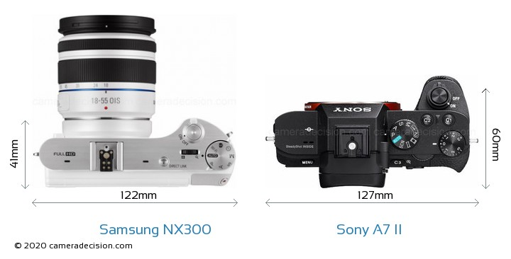 Samsung NX300 vs Sony A7 II Camera Size Comparison - Top View