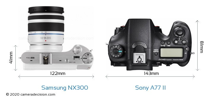 Samsung NX300 vs Sony A77 II Camera Size Comparison - Top View