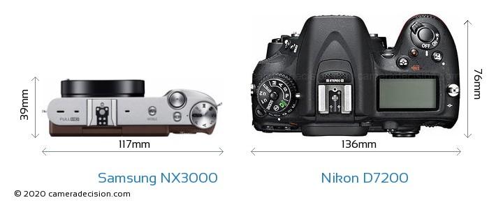 Samsung NX3000 vs Nikon D7200 Camera Size Comparison - Top View