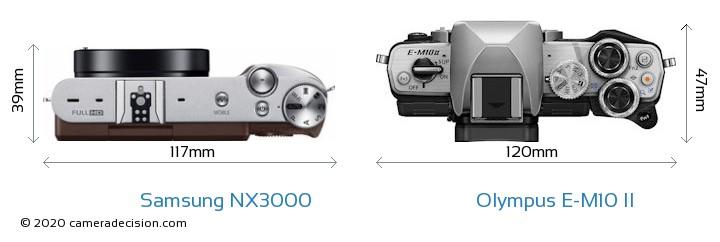 Samsung NX3000 vs Olympus E-M10 II Camera Size Comparison - Top View