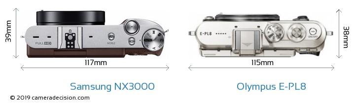 Samsung NX3000 vs Olympus E-PL8 Camera Size Comparison - Top View