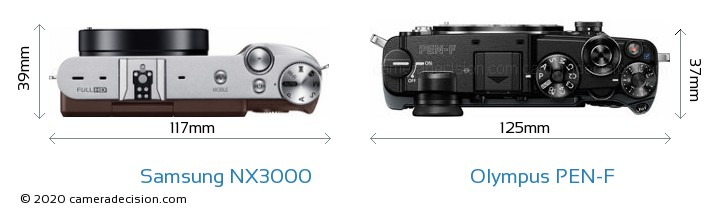 Samsung NX3000 vs Olympus PEN-F Camera Size Comparison - Top View