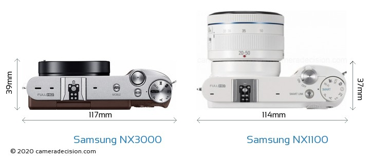 Samsung NX3000 vs Samsung NX1100 Camera Size Comparison - Top View