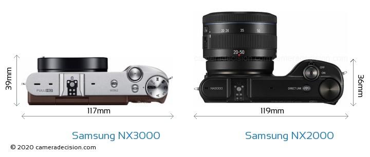 Samsung NX3000 vs Samsung NX2000 Camera Size Comparison - Top View