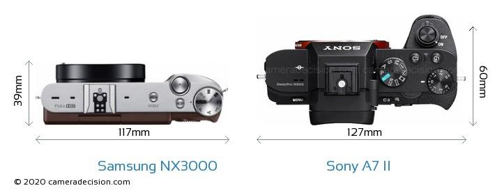 Samsung NX3000 vs Sony A7 II Camera Size Comparison - Top View