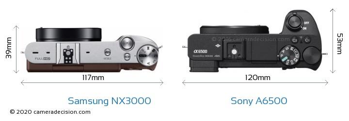 Samsung NX3000 vs Sony A6500 Camera Size Comparison - Top View