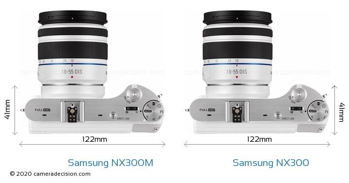 Samsung NX300M vs Samsung NX300 Camera Size Comparison - Top View