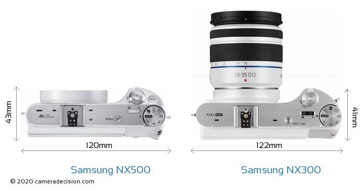 Samsung NX500 vs Samsung NX300 Camera Size Comparison - Top View