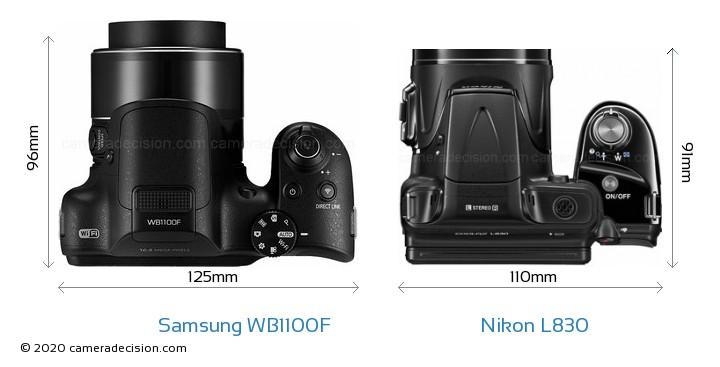 Samsung WB1100F vs Nikon L830 Camera Size Comparison - Top View