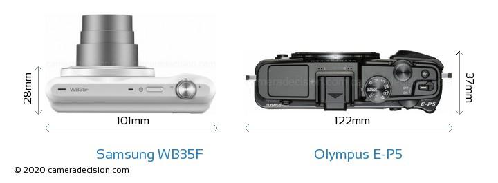 Samsung WB35F vs Olympus E-P5 Camera Size Comparison - Top View