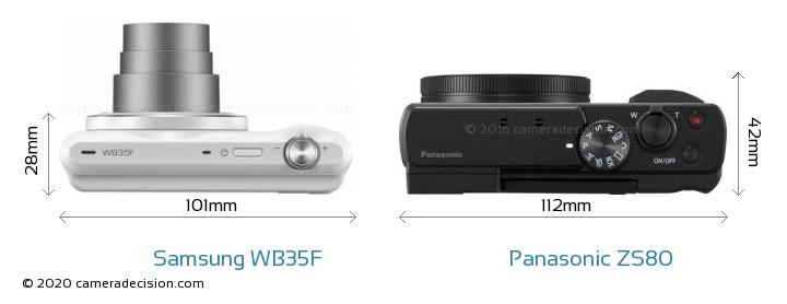 Samsung WB35F vs Panasonic ZS80 Camera Size Comparison - Top View