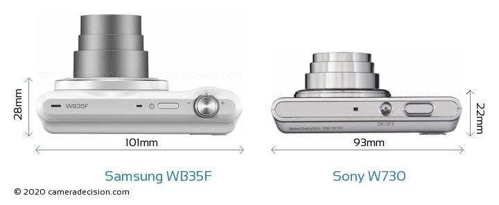 Samsung WB35F vs Sony W730 Camera Size Comparison - Top View