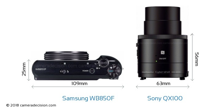 sony 850 100 camera. samsung wb850f vs sony qx100 camera size comparison - top view 850 100 e