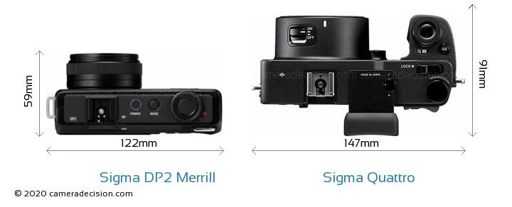 Sigma DP2 Merrill vs Sigma Quattro Camera Size Comparison - Top View