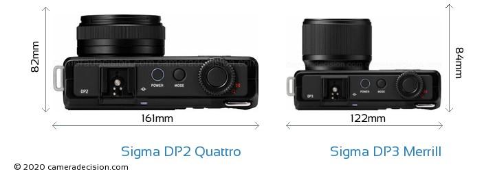 Sigma DP2 Quattro vs Sigma DP3 Merrill Camera Size Comparison - Top View