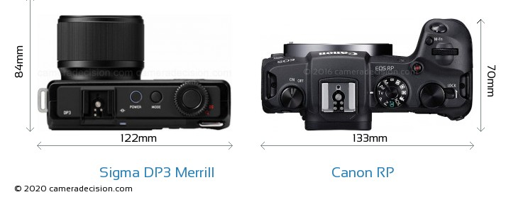 Sigma DP3 Merrill vs Canon RP Camera Size Comparison - Top View
