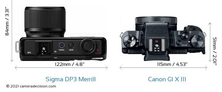 Sigma DP3 Merrill vs Canon G1 X III Camera Size Comparison - Top View