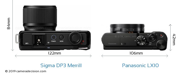 Sigma DP3 Merrill vs Panasonic LX10 Camera Size Comparison - Top View