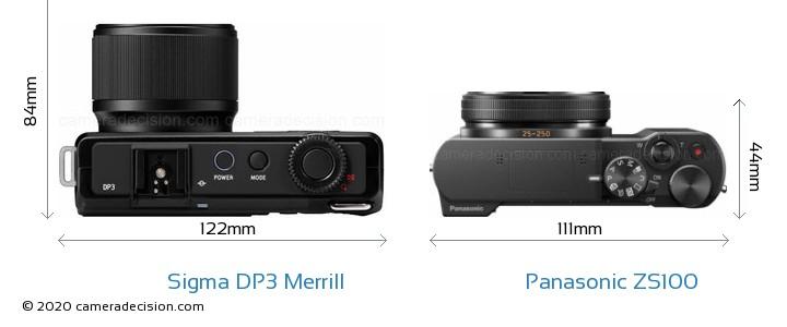 Sigma DP3 Merrill vs Panasonic ZS100 Camera Size Comparison - Top View
