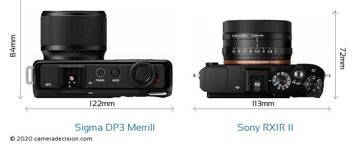 Sigma DP3 Merrill vs Sony RX1R II Camera Size Comparison - Top View