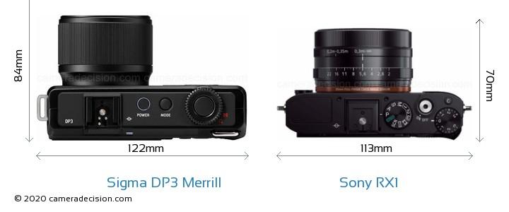 Sigma DP3 Merrill vs Sony RX1 Camera Size Comparison - Top View