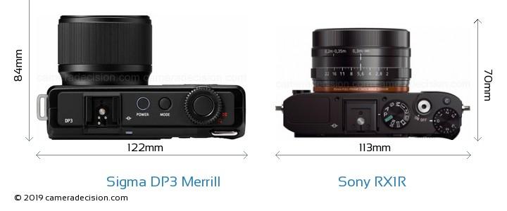 Sigma DP3 Merrill vs Sony RX1R Camera Size Comparison - Top View