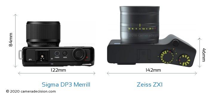 Sigma DP3 Merrill vs Zeiss ZX1 Camera Size Comparison - Top View