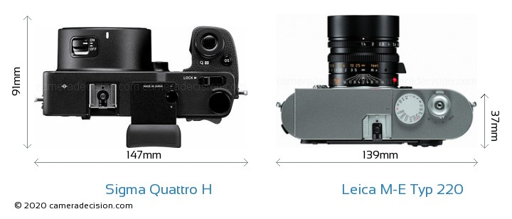 Sigma Quattro H vs Leica M-E Typ 220 Camera Size Comparison - Top View