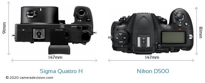 Sigma Quattro H vs Nikon D500 Camera Size Comparison - Top View