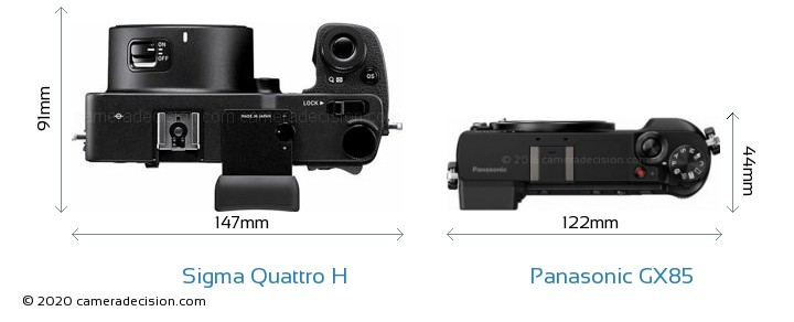 Sigma Quattro H vs Panasonic GX85 Camera Size Comparison - Top View