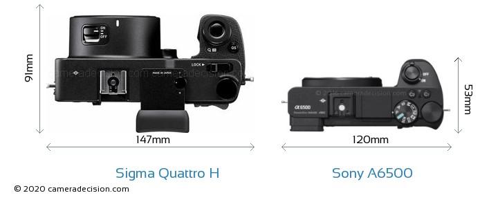 Sigma Quattro H vs Sony A6500 Camera Size Comparison - Top View