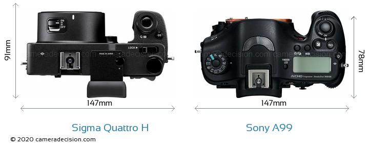 Sigma Quattro H vs Sony A99 Camera Size Comparison - Top View