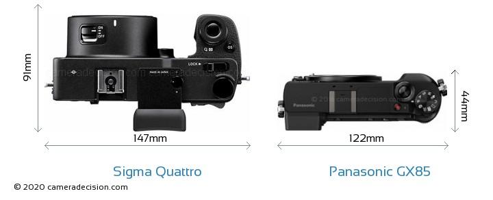 Sigma Quattro vs Panasonic GX85 Camera Size Comparison - Top View