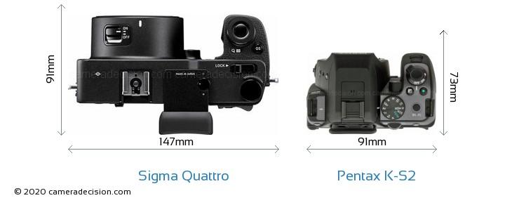 Sigma Quattro vs Pentax K-S2 Camera Size Comparison - Top View