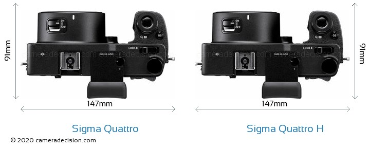 Sigma Quattro vs Sigma Quattro H Camera Size Comparison - Top View
