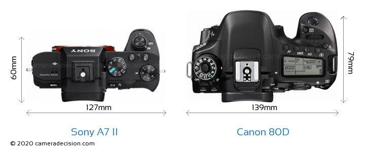 Sony A7 II vs Canon 80D Camera Size Comparison - Top View