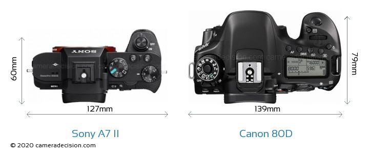 Sony A7 II vs Canon 80D Camera Size Comparison - Top View