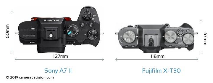 Sony A7 II vs Fujifilm X-T30 Camera Size Comparison - Top View