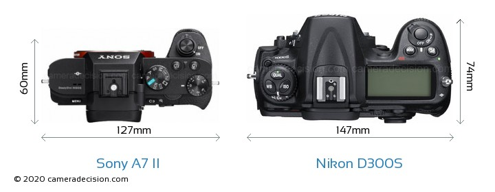 Sony A7 II vs Nikon D300S Camera Size Comparison - Top View