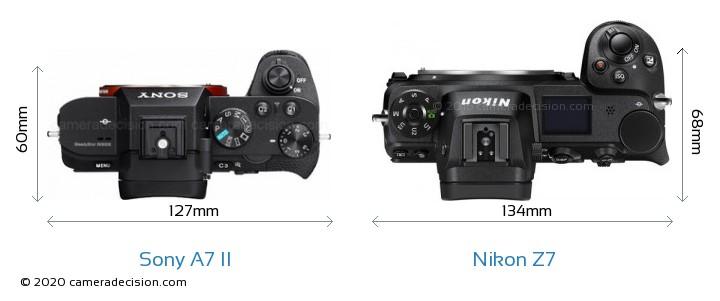 Sony A7 II vs Nikon Z7 Camera Size Comparison - Top View
