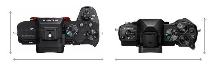 Sony A7 II vs Olympus E-M10 MIII Camera Size Comparison - Top View